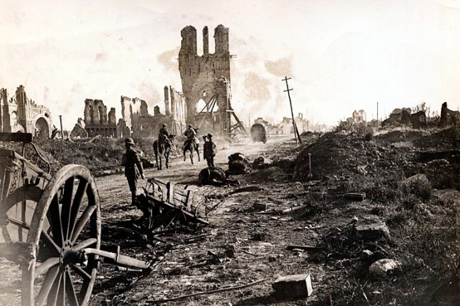 Soldiers Walk Through Destruction in Ypres During WWI